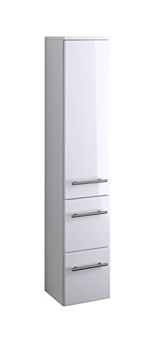 lifestyle4living Badezimmerschrank in Weiß, Hochglanz, schmal | Halbhoher Midischrank mit 1 Tür, 2 Schubkästen und 2 Einlegeböden