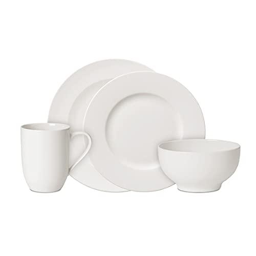 Villeroy & Boch For Me Vajilla para 4 personas, 16 piezas, porcelana premium, Blanco