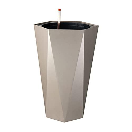 SUHETI Tiesto de Riego Automático con Indicador Nivel Agua, Resina Decorativa Planter Pot, Sencillez Decoración para el Hogar, para Interior Exterior,Gris