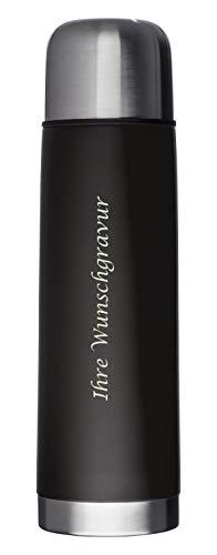 Edelstahl Isolierkanne mit Gravur / Thermosflasche / Thermoskanne / 0,5l / Farbe: schwarz
