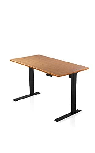 - AGIL - Ergonomischer Schreibtisch - Elektrisch Höhenverstellbar (Schwarzes Gestell mit Bambus Tischplatte aus Massivholz) - bis zu 5 Jahren Herstellergarantie - für Erwachsene und Kinder