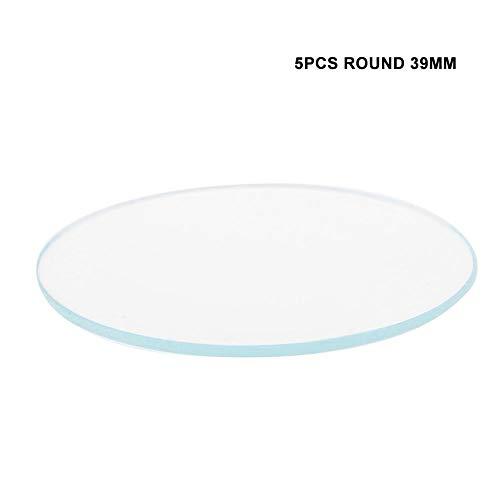 5 piezas 37/38/39 mm planas redondas piezas de repuesto de cristal de cristal lente para la reparación de relojero(39mm)