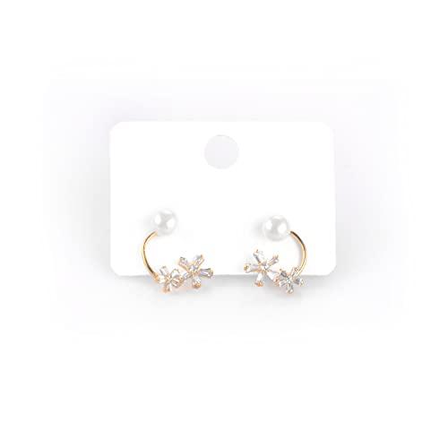 ERATO 925 Pendientes colgantes de pétalos de perlas francesas agraciados con tachuelas de plata esterlina para mujeres y niñas