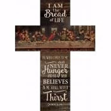 Bread Of Life Last Supper Scene Distressed 20 x 14 Wood Wall Art Plaque Cross
