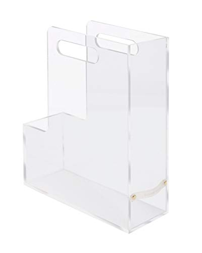 """RUSSELL+HAZEL Acrylic Magazine File, Clear with Gold-Toned Hardware, 3.75"""" x 10.5"""" x 2.5"""" (31729)"""