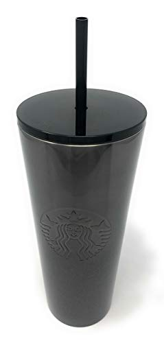 Starbucks Holiday 2019 Stainless Steel Cold Cup Tumbler 24oz Silver Black Glitter