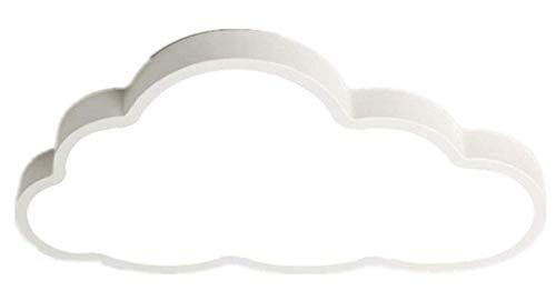 Led Plafón en forma de nube Iluminación de techo, ultrafino 5 cm, luz de techo para niños, lámpara de dormitorio, habitación, salón (Luz blanca, Borde blanco (50 * 28 cm) 36 W)