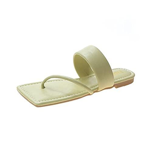 Ladies Thong Sliders Flat Summer Bath Beach Slippers Square Toe Daily Outdoor Non Slip Quick dry Beach Women Flip Flop