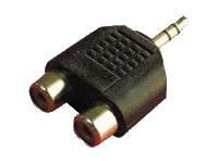 Sandberg Adapter MiniJack-M->2xRCA-F - Adaptador para cable (Male connector/Female connector, Negro)