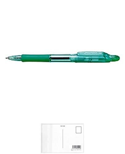 ゼブラ ジムノックE ボールペン 緑 KRB-100-G 【まとめ買い10本セット】 + 画材屋ドットコム ポストカードA