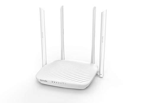 Tenda F9 600 MBit/s WLAN Router (4x externe Antennen, 1x WAN, 3x LAN, Appsteuerung , Beamforming+, WPS) weiß
