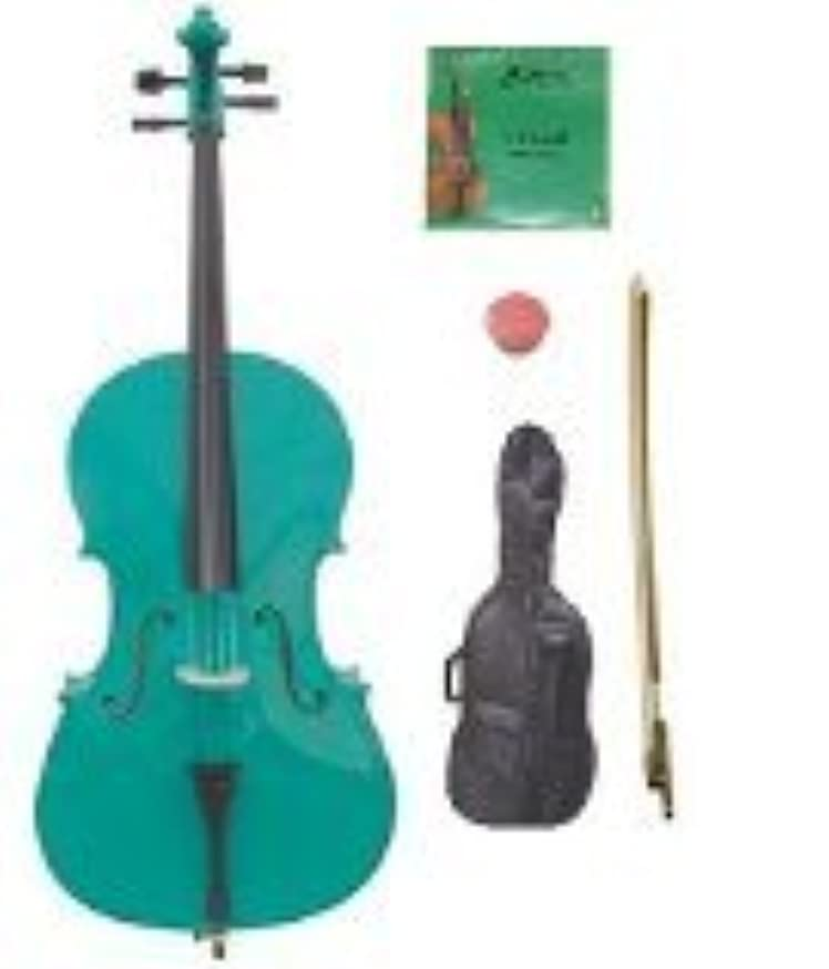 GRACE 1/4 Size Green Cello with Bag and Bow+Rosin+Extra Set of Strings
