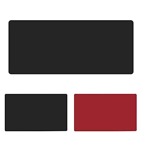 Alfombra Raton Alfombrilla De Escritorio, Estera del Escritorio De Oficina,Impermeable Alfombrilla Mouse Pad para PortáTil,Teclado,Doble Cara Protector De Escritorio,Negro+Rojo(Size:35x120cm/13.78x47