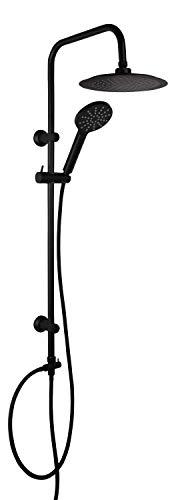 aquaSu® Duschsystem Acana mit Regendusche & Handbrause | Handbrause: 3 Strahlarten | Kopfbrause: 1 Strahlart | Antikalk | rund | Duschgarnitur | Wandstange | Schieber | Schwarz | 72501 9