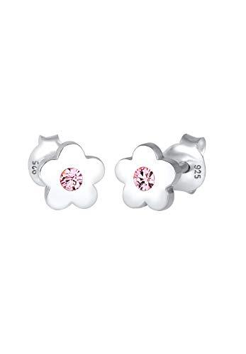 Elli Pendientes para niñas flores con cristal en plata de l