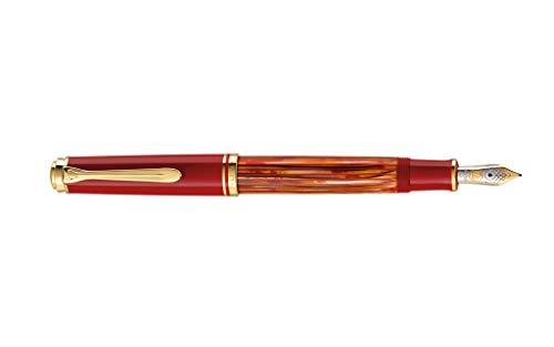 Pelikan 815741 - Penna stilografica a stantuffo M600, pennino F, colore: Rosso tartaruga