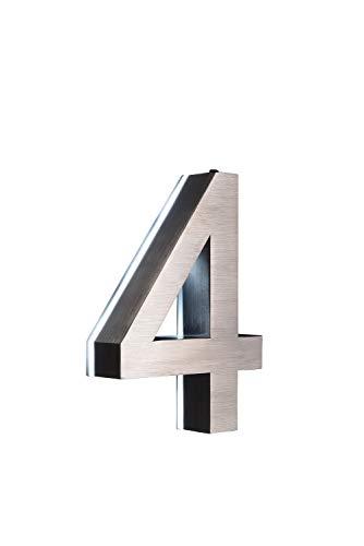 LED Hausnummer 4 Edelstahl V2A 3D Höhe 20cm beleuchtet rostfrei mit Tranformator 220 Volt Dämmerungssensor vollautomatisches An und Aus erhältlich 0 1 2 3 4 5 6 7 8 9 a b c d