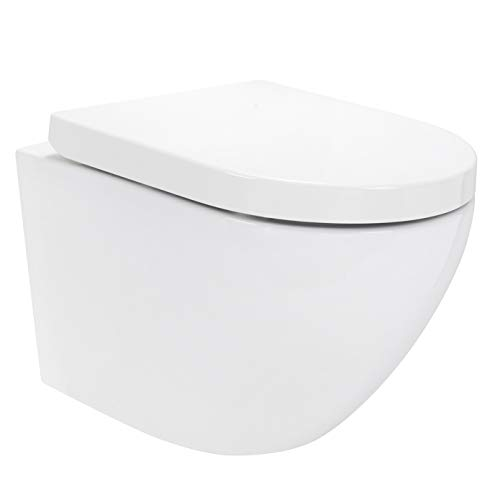 Redonde Design Hänge WC spülrandlos Toilette inkl. Duroplast WC Sitz mit Softclose Absenkautomatik + abnehmbar