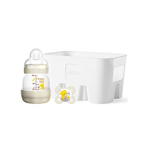 MAM Easy Start Anti-Colic Combi Set XS, Baby Erstausstattung mit Anti-Colic Flasche (130 ml), inkl. Sauger in 2 Größen,MAM Start Schnuller und Flaschenkorb, Baby Geschenk Set, ab der Geburt, beige