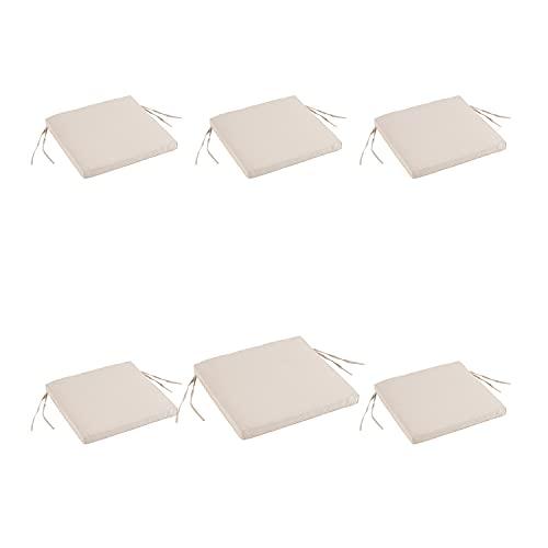 Edenjardi Lot de 6 Coussins de siège pour extérieur Couleur Luxe crème| Dimensions: 44x44x5 cm | Imperméable | Déhoussable | Livraison Gratuite