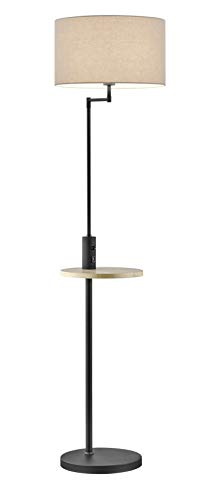 Trio Leuchten 400400132 Claas - Lámpara de pie (metal negro mate, pantalla de tela blanca, estante de madera, no incluye 1 bombilla E27)