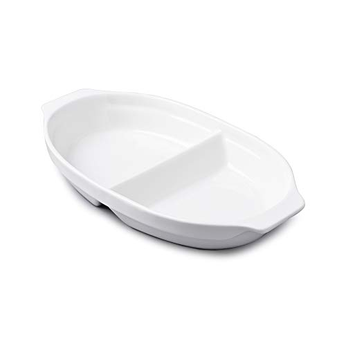 WM Bartleet & Sons 1750 T398 Traditional Porcelain Large Divided Vegetable and Sides Serving Dish 32cm – White