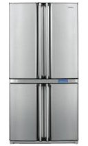 SHARP SJF800SPSL - Frigorífico combinado/A+ / 183 cm / 460 kWh/año / 421 L / 232 L parte congelador/doble puerta francesa (cuatro puertas) / plateado