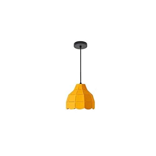 MJK Candelabros novedosos, luz colgante, lámpara colgante minimalista moderna, candelabro de decoración de un solo cabezal de cúpula de hierro forjado amarillo, para sala de exposición del dormitorio