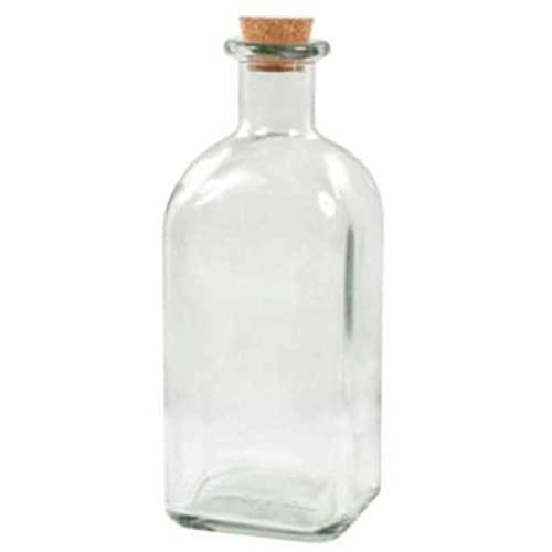 Botella de cristal de 700 ml, con corcho, de 21 x 7 x 7 cm, con diseño tradicional, ideal para el hogar u hostelería. Recipiente para almacenar todo tipo de líquidos, de forma cuadrada con corcho