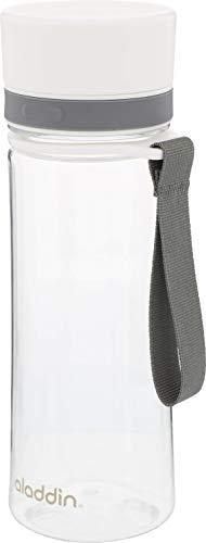 Aladdin AVEO Trinkflasche aus Tritan-Kunststoff, 0.35 Liter, Weiß, Auslaufsicher, Durchsichtig, Wasserflasche für Kids, Fahrradflasche