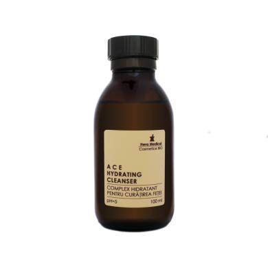 A C E NETTOYANT HYDRATANT, pH = 5, Nettoyant   Démaquillant   Exfoliant, tous types de peaux, idéal pour les peaux sensibles, les peaux à tendance rosacée - 88,6% organique - 100 ml