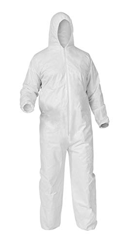 Disposable Coverall Suits, Hooded Protective Suit, Large, White, 25 Pack