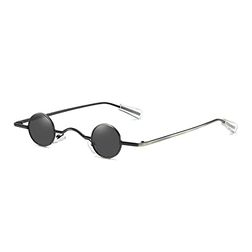 Sonnenbrille Herren Vintage Rock Punk Man Sonnenbrille Klassische Kleine Runde Sonnenbrille Frauen Wide Bridge Metallrahmen Schwarze Linse Brille Fahren C1Black-Black