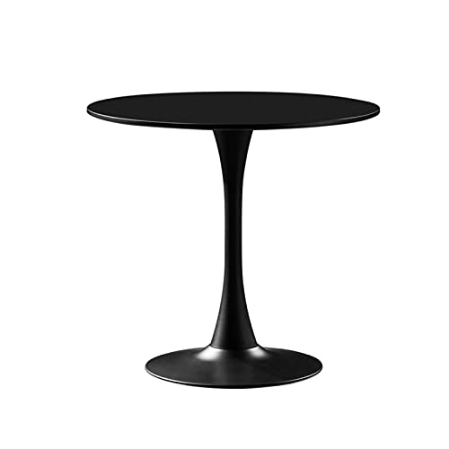 YNN Mesa De Comedor Moderna De Mediados De Siglo con Base De Pedestal De Madera Redonda Y Metal, 60 Dx75cm H(Color:Negro)