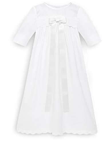 Bateo Robe de baptême pour bébé, avec nœud - En coton - Blanc - Blanc - 6 mois