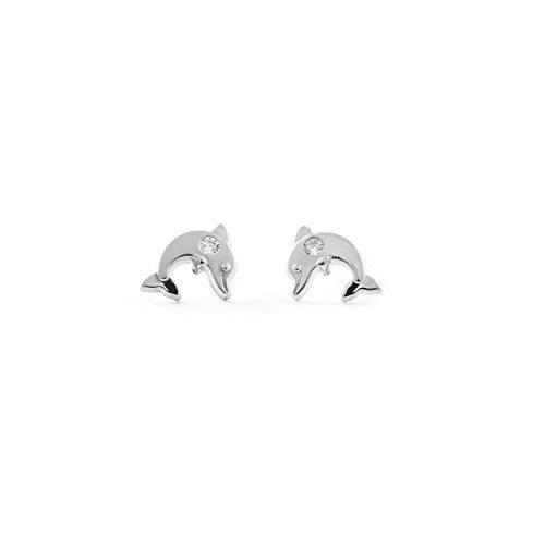 Pendientes Bebe o Niña Oro Blanco Delfin Circonita (9kts)