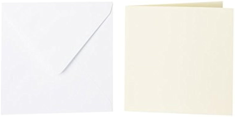 100 quadratische Briefumschläge 140 x 140 mm Weiß mit Dreieckslasche, 100g  100 Faltkarten 130 x 130 mm, 240g, Farbe  05 Zartgelb B015PQWSNK | Geeignet für Farbe