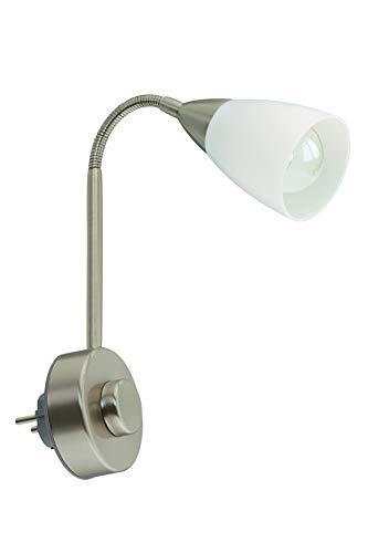 Briloner Leuchten Stekkerlamp Flexarm, Stekkerlamp E14, leeslamp 25W, incl. draaidimmer, mat-nikkel-wit, metaal, 25 W