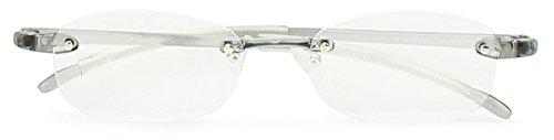 藤田光学 老眼鏡 メンズ 3.5 度数 ふちなし 読書グラス 弾性樹脂フレーム グレー TP-11SM+3.50