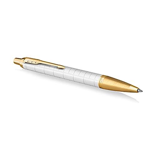 Parker IM penna a sfera | Laccato perla premium con finiture in oro | Punta media con ricarica di inchiostro blu | Confezione regalo