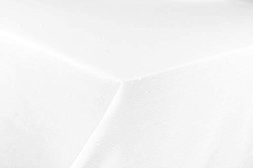 Tischdecke Classic White 130x220 eckig von First-Tex aus 100% Bio-Baumwolle mit Atlaskante für gehobene Ansprüche