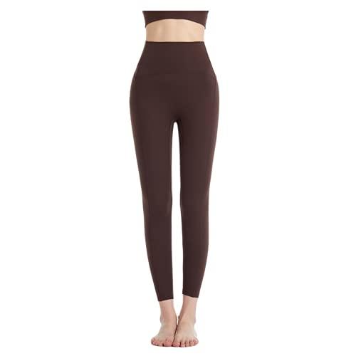 QTJY Pantalones de Yoga Suaves y sexys para Mujer, Leggings absorbentes de Sudor, Cintura Alta, Flexiones de Cadera, Pantalones de Entrenamiento para Celulitis, E L