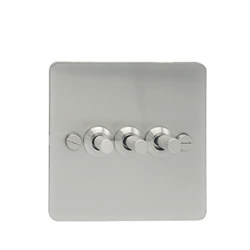 LOYAL TECHNOLOGY-PACKAGE 3 Interruptor de la luz de la pandilla y Cepillo del Interruptor de Pared del Panel de Acero Inoxidable de 2 vías Fácil instalación