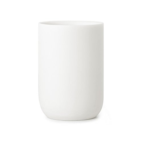 Umbra Junip Bath Accessories Tumbler - Modern White Resin Holder and Organizer, Perfect for Holding Toothbrushes, Make-up Brushes and Various Bath Items