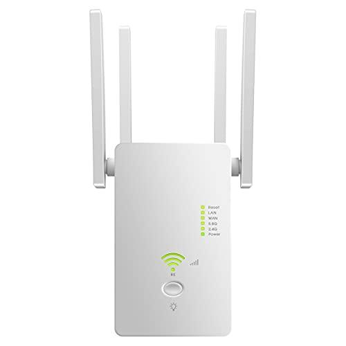Repetidor WiFi 1200Mbps Amplificador WiFi 5.8G/2.4G Repetidor Señal WiFi 4 Antenas Externas, 2 Puerto Ethernet LAN Soporte Ap / Repetidor / Modo Enrutador