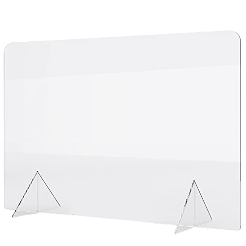 No Cutout 24'W x 16'H Sneeze Guard for Counter and Desk, Freestanding Clear Acrylic Shield, plexiglass Shield