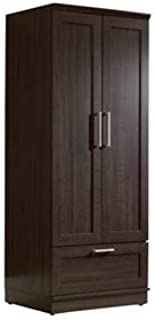 BeUniqueToday Dark Brown Wood Wardrobe Cabinet Armoire with Garment Rod, Provides The Right Amount of Style to Fit Any Room and Delivers The Function to Match, with Adjustable Shelf and Base Levelers