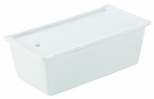 Revol 638555 Terrine Rectangulaire avec Couvercle + Plateau Porcelaine Blanc 24,2 x 11,4 x 7 cm
