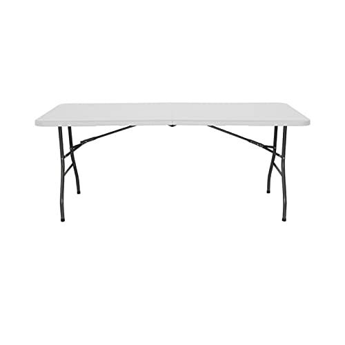 XXJL 1,83m Falttisch Tragbare Einfache Falten Langer Tisch Outdoor Camping Camping-Konferenz Picknick-Messestand Falttisch Rechteckiger weißer Esstisch