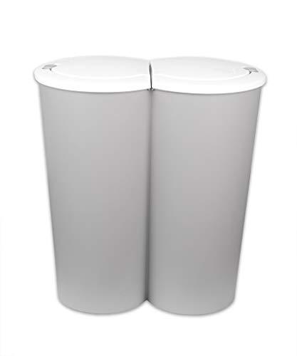 BigDean Doppel-Mülleimer 2x25L 50L groß - Grau mit weißem Druckknopf-Deckel - für Mülltrennung - 2-Fach Trennmülleimer Duo-Abfalleimer Müllbehälter doppelt - Küche Büro